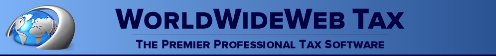 Professional tax preparation software from WorldWideWeb Tax - your one stop source for affordable professional tax preparation software!